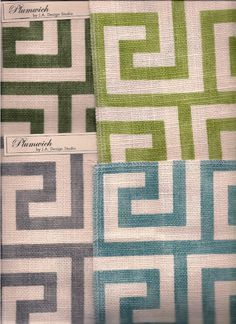 Greek Key Plumwich fabric by J.A. Design Studio