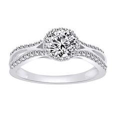 Infinity Engagement Ring Round Cut 0.95 VVS1 10K Solid White Gold by JewelryHub on Opensky