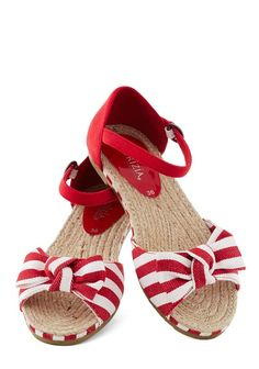 red and white striped sandals