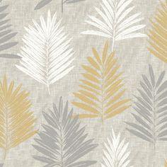 Linen Palm Ochre and Grey Wallpaper -