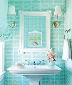 Bathroom colors on pinterest blue bathrooms tiffany for Aqua colored bathroom ideas