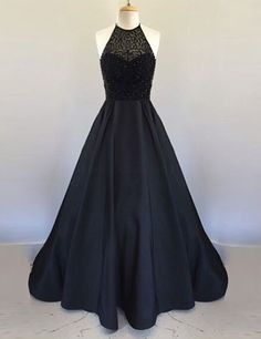 Prom Dresses,A Line Halter Floor Length Black Pleated Prom Dress with Beading