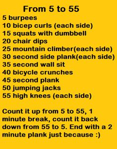 5 to 55 workout (20 minutes)