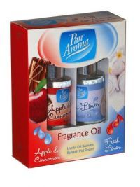 - Pan Aroma Fragrance Oil Apple And Cinnamon And Fresh Linen 2 Pack Use in oil burner and refresh Pot Pourri. Oil Burners, Fragrance Oil, Chemistry, Health And Beauty, Cinnamon, Household, Cleaning, Apple, Fish