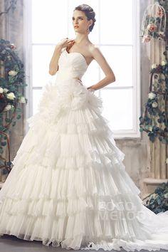 Romantic A-line One Shoulder Chapel Train Cascading Ruffles Organza Wedding Dress CWLT1301D #weddingdress #cocomelody