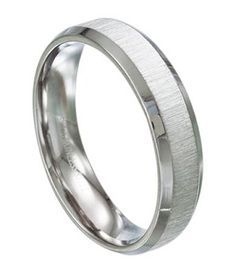 A brushed finish and beveled edges makes this 316L Stainless Steel 6 mm wedding ring a great choice. The beveled edges are a high polish which gives this ring a unique look.