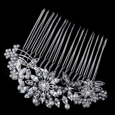 Samantha Rhodium Diamond White Pearl and Rhinestone Floral Wedding Bridal Special Occasion Hair Comb * This is an Amazon Affiliate link. You can get additional details at the image link.