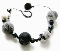 Audrey Hepburn Black-white nuno felted necklace with glass and lava beads by Jane Bo, via Flickr