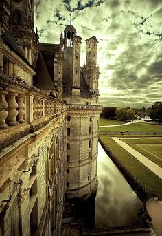 Sunset At Chateau du Chambord, France -- {this place is unbelievable. Took us 4 hours to walk it! Everyone that travels should go! Now I want to find my pictures and share!}