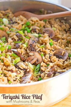 Teriyaki Rice Pilaf With Mushrooms And Peas - I think rice much like potatoes is super versatile. Growing up my Mom made rice in some form weekly. In fact, her chicken and rice casserole remains one o (Hibachi Teriyaki Chicken) Pea Recipes, Side Dish Recipes, Rice Recipes, Asian Recipes, Vegetarian Recipes, Cooking Recipes, Ethnic Recipes, Pescatarian Recipes, Healthy Recipes