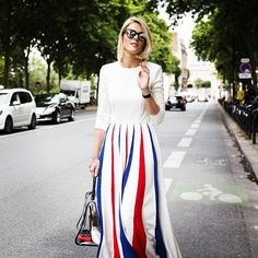 SOFIE VALKIERS, CELEBRATING FRANCE #emmetrend #fashionblogger #sofievalkiers #pfw #streetstyle #spectrum #alarusse @sofievalkiers is by A La Russe and my sunglasses are from Spectrum. I'm carrying a Del Vaux bag.""