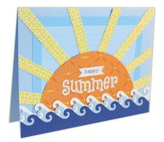 Happy Summer Card Project Idea using the new Wave Border Maker cartridge.  #card #scrapbooking  http://www.creativememories.com/user/chinohills