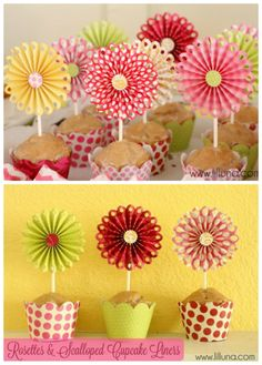 Jazz up some cupcakes at your next baby shower by making these adorable Rosette Toppers! Kids Crafts, Diy And Crafts, Craft Projects, Paper Crafts, Flower Crafts, Diy Flowers, Paper Flowers, Cupcake Liner Crafts, Paper Cupcake