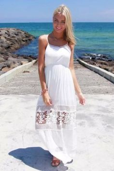 2015 sUMMER Bohemia Women Bohemia cami lace crochet MAXI LONG dress Beach white #coollife001 #Sundress #Casual