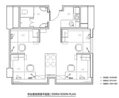 This is a 660 sq. modern student apartment at Campus Hong Kong. Inside you'll find a common living area, kitchen, bathroom, and four loft beds with desks below. Please enjoy, learn more a… Student Apartment, Student Room, Student House, Apartment Design, Modular Home Floor Plans, House Floor Plans, Home Design, Interior Design, Vintage House Plans
