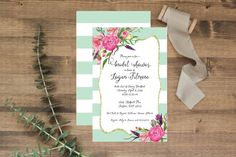 """Mint & Stripes & Everything nice!  5x7"""" bridal shower invtations, available printed+shipped or as a DIY Printable. www.etsy.com/shop/junearbordesigns #bridalshower #weddingshower #bridalshowerinvitation #weddingshowerinvitation #engaged #bride #summerwedding #showerinvitation #floralbridalshower #boho #bohowedding #bohoinvitation #stripedinvitation #mintbridalshower #mintwedding #weddingstationary #bridalshowerinspiration #DIYbridalshower #DIYshowerinvitations #etsy #etsyinvitations…"""