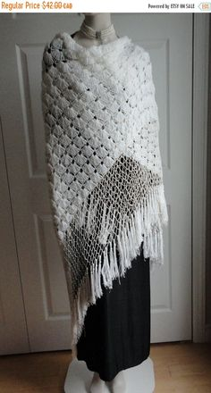 On Sale White Crocheted Yarn Women Shawl, Wrap  Boho or Hippie Look from 60s - pinned by pin4etsy.com