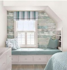 It's got the look of weathered wood with hints of soft pale color, but the walls of this rustic haven are actually made of chic peel and stick wallpaper! WallPops NuWallpaper Beachwood Peel And Stick Wallpaperia via Joann Fabric & Craft Stores. Beach Cottage Style, Beach Cottage Decor, Coastal Cottage, Coastal Style, Coastal Decor, Beach Condo Decor, Rustic Beach Decor, Cottage Style Decor, Beach Apartment Decor