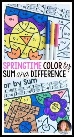 color by sum and difference spring - Fun Sheets For Students