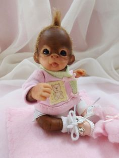 OOAK Baby Orangutan Monkey Girl Sculpted Polymer Clay Art Doll Teddy Bear #Unbranded