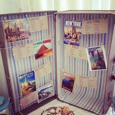 Vintage Suitcase Table Plan - Lusty Glaze Beach Cornwall