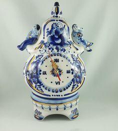 VINTAGE GZHEL, BLUE & WHITE RUSSIAN PORCELAIN MANTLE CLOCK  | eBay