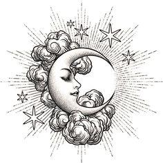 "𝕿𝖍𝖔𝖒𝖆𝖘 𝕭𝖔𝖚𝖑𝖆𝖗𝖉 on Instagram: ""Final version. Swipe>>> Art Nouveau moon. Dedicated to my beloved daughter Sélène. . . . #tattoo #tattoos #ink #tatouage #etching…"""