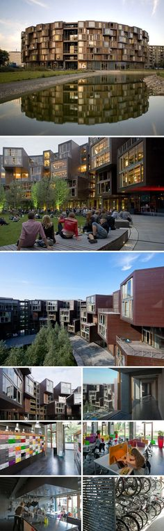 Coolest dorm ever! Designed by Lundgaard & Tranberg, Copenhagen's Tietgen Student Hall (Tietgenkollegiet) is a 288,000-square-foot, seven-story circular residential building outfitted with everything a college student would want, including a bike workshop, music rehearsal rooms and gourmet kitchens.: