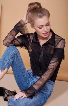 Прозрачная ажурная блуза с оборками на плечах TOP20 Studio / 2000001030288-2