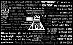 Songs include (up to down, left to right): Sugar, We're Goin' Down My Songs Know What You Did In The Dark (Light 'Em Up) Where Is Your Boy/Grand Theft A. Fall Out Boy Lyrics Wallpaper Fall Out Boy Wallpaper, Boys Wallpaper, Emo Bands, Music Bands, Rock Bands, Lyric Quotes, Life Quotes, Fall Out Boy Lyrics, Save Rock And Roll