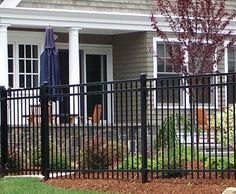 """Kingcats - If your property demands a fence with a more traditional ornamental iron appearance, the Majestic three rail with ¾"""" pickets will complement your architecture superbly."""