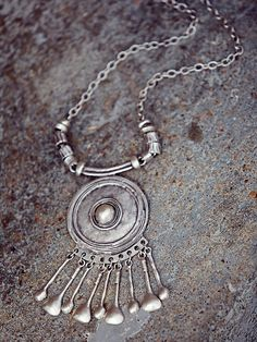 Free People Silver Shield Statement Pendant at Free People Clothing Boutique