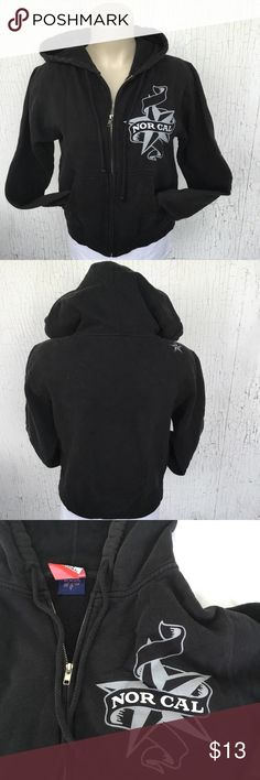 """NORCAL Hooded Sweater - SMALL NORCAL Hooded Sweater Size SMALL Color Black 2 Side Pockets """"NorCal"""" print on left chest   APPROX MEASUREMENTS LAYING FLAT  Shoulder: 17"""" Chest: 19.5 Arms: 22.5"""" Length: 22""""  80% Cotton; 20% Polyester  Minor discoloration on the sweater (as with all black sweaters) NorCal Sweaters"""