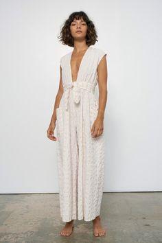 Mara Hoffman Whitney Jumpsuit - White Sand | Garmentory Mara Hoffman, Ankle Length, Neckline, Plaid, White Dress, Fabric, Organic Cotton, Dresses, Boutiques