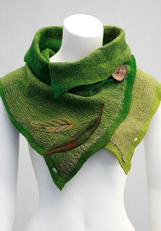 Nuno felted scarves - Felted Scarf - Felt Cowl - Green foresty sturdy every day wear scarf - Woodland Moss