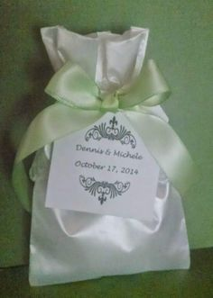 Inspiration for your PERSONALIZED SATIN & EMBROIDERED ORGANZA WEDDING FAVOR BAGS