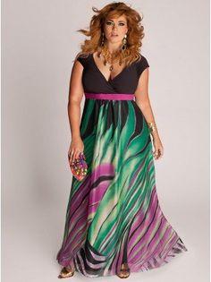 Rainforest Paradise Plus Size Maxi Dress - Plus Size Evening Dresses by IGIGI