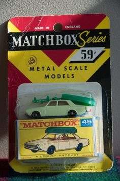1960-69 Matchbox Lesney FORD CORSAIR & BOAT #45 Metal Scale Model NEW IN PACKAGE #Matchbox #Ford