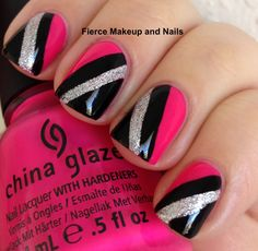 black and red nail polish ideas | ... is almost neon and the contrast of the black and silver make it pop