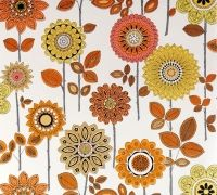 Floral wallpaper in different shades of brown. Seen on retrovilla.dk