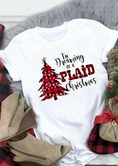 Merry Christmas Plaid Leopard Printed Tree T-Shirt Tee - White - Fairyseason Plaid Christmas, Christmas Shirts, Christmas Outfits, Christmas Cup, Christmas Games, Christmas Ideas, Merry Christmas, Direct To Garment Printer, Cute Shirts