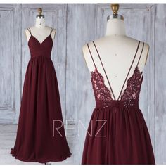Bridesmaid Dress Wine Chiffon Wedding Dress,Spaghetti Straps Prom... ($118) ❤ liked on Polyvore featuring dresses and wedding dresses