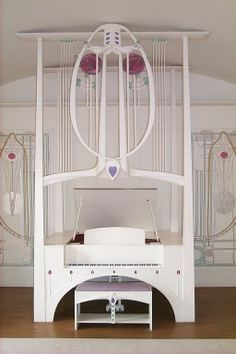 Charles Rennie Mackintosh (1868-1928) & Margaret Macdonald Mackintosh (1865-1933) - The Piano in the Music Room. The House for an Art Lover. Bellahouston Park. Glasgow, Strathclyde, Scotland.