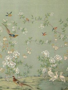 beautiful chinoiserie ~ to find a similar fabric or wallpaper see decoratorarchives., or gorgeous hand-painted papers at chinese-wallpaper. Hand Painted Wallpaper, Painting Wallpaper, Fabric Wallpaper, Wall Wallpaper, Wallpaper Wallpapers, Gracie Wallpaper, Bird Wallpaper Bedroom, Handmade Wallpaper, Vintage Wallpaper Patterns