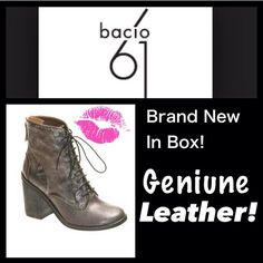 "baci'o61 Genuine Leather Boots Brand new in box. Italian street fashion in GENUINE LEATHER, baci'o61 brand lace up boots/booties, style is "" Radura"" color-Pewter, ankle length, zippers in back, non-skid rubber bottoms 4"" sturdy heel. Will make any outfit even more AWESOME! Sorry but ❌Trades❌PayPal❌Holds. Same day and next day shipping! baci'o61 Shoes"