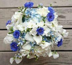 White Mini Calla Lilies, White Sweet Pea, White Freesia, Blue Tweedia, Blue Hydrangea, Blue Cornflower Wedding Bouquet ^^^^