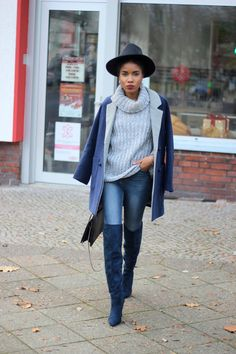 Discover and organize outfit ideas for your clothes. Decide your daily outfit with your wardrobe clothes, and discover the most inspiring personal style Winter Boots Outfits, Outfits With Hats, Fall Outfits, Work Outfits, Burgundy Boots, Navy Boots, Hipster Mode, Over The Knee Boot Outfit, Booties Outfit