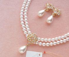 ブライダル2連パールネックレス&イヤリングセット Diy Jewelry Making, Creative Things, Pearl Necklace, Beading, Pear Necklace, O Beads, Beads, Pearl Necklaces, Pearls