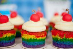 Rainbow Cupcakes with a fondant cherry on top! Rainbow Parties, Rainbow Birthday Party, Baby Birthday, Birthday Party Themes, Birthday Ideas, Rainbow Theme, Birthday Stuff, Disney Up, Disney Pixar