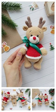 Amigurumi Christmas Reindeers Free Pattern – Amigurumi Free Patterns And Tutor. Amigurumi Christmas Reindeers Free Pattern – Amigurumi Free Patterns And Tutorials Always wanted to discover how to knit. Crochet Christmas Ornaments, Christmas Crochet Patterns, Christmas Knitting, Crochet Patterns Amigurumi, Christmas Crafts, Crochet Decoration, Yarn Crafts, Handmade Toys, Crochet Projects